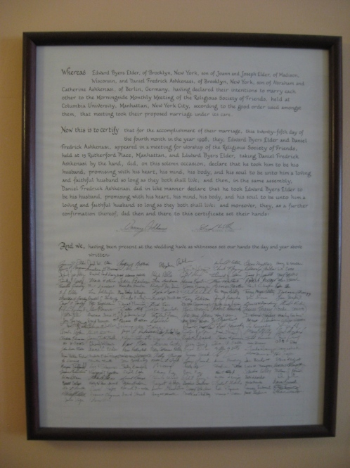 Our Quaker Marriage Certificate