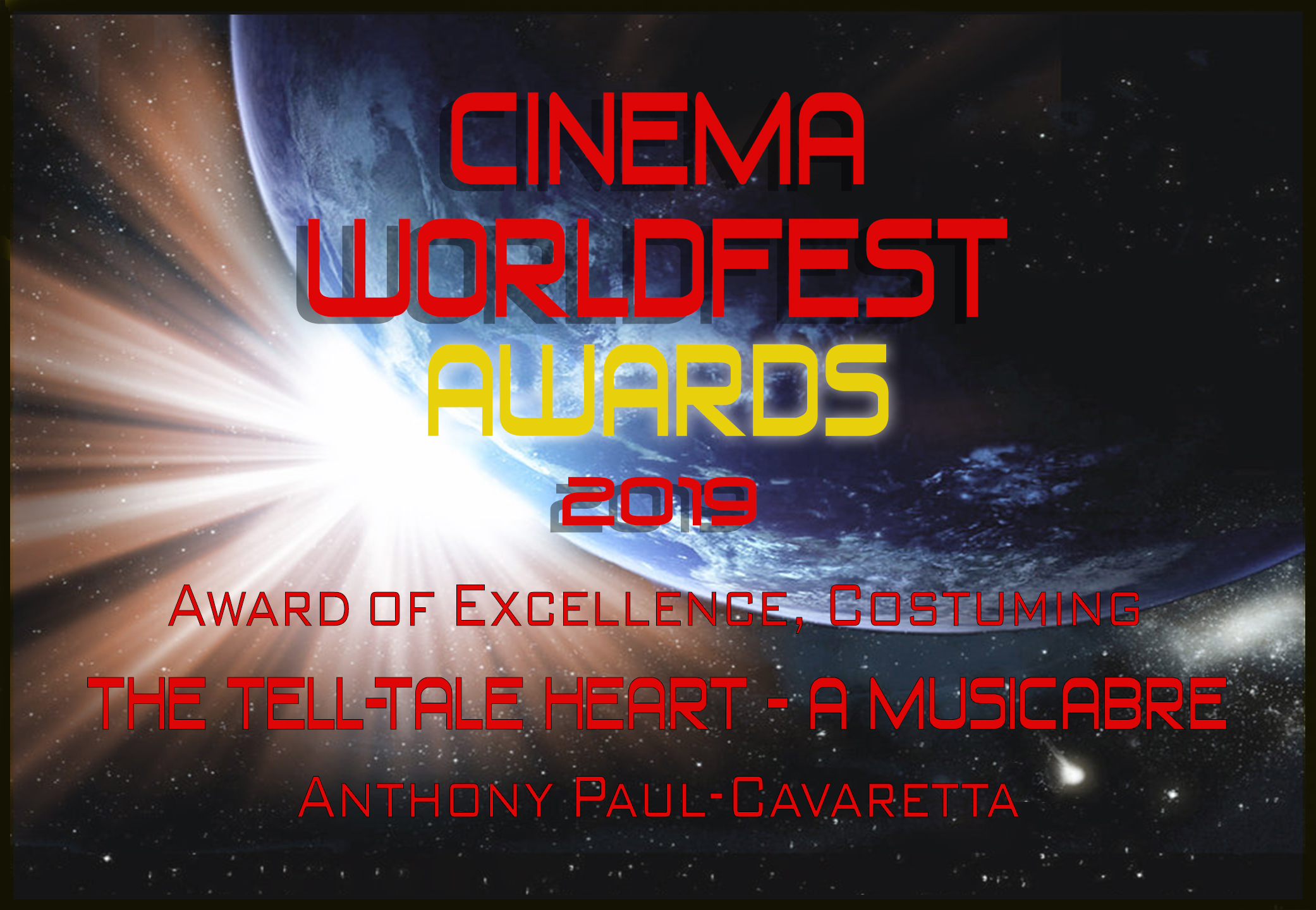 Cinema WorldFest Win The Tell-Tale Heart costuming
