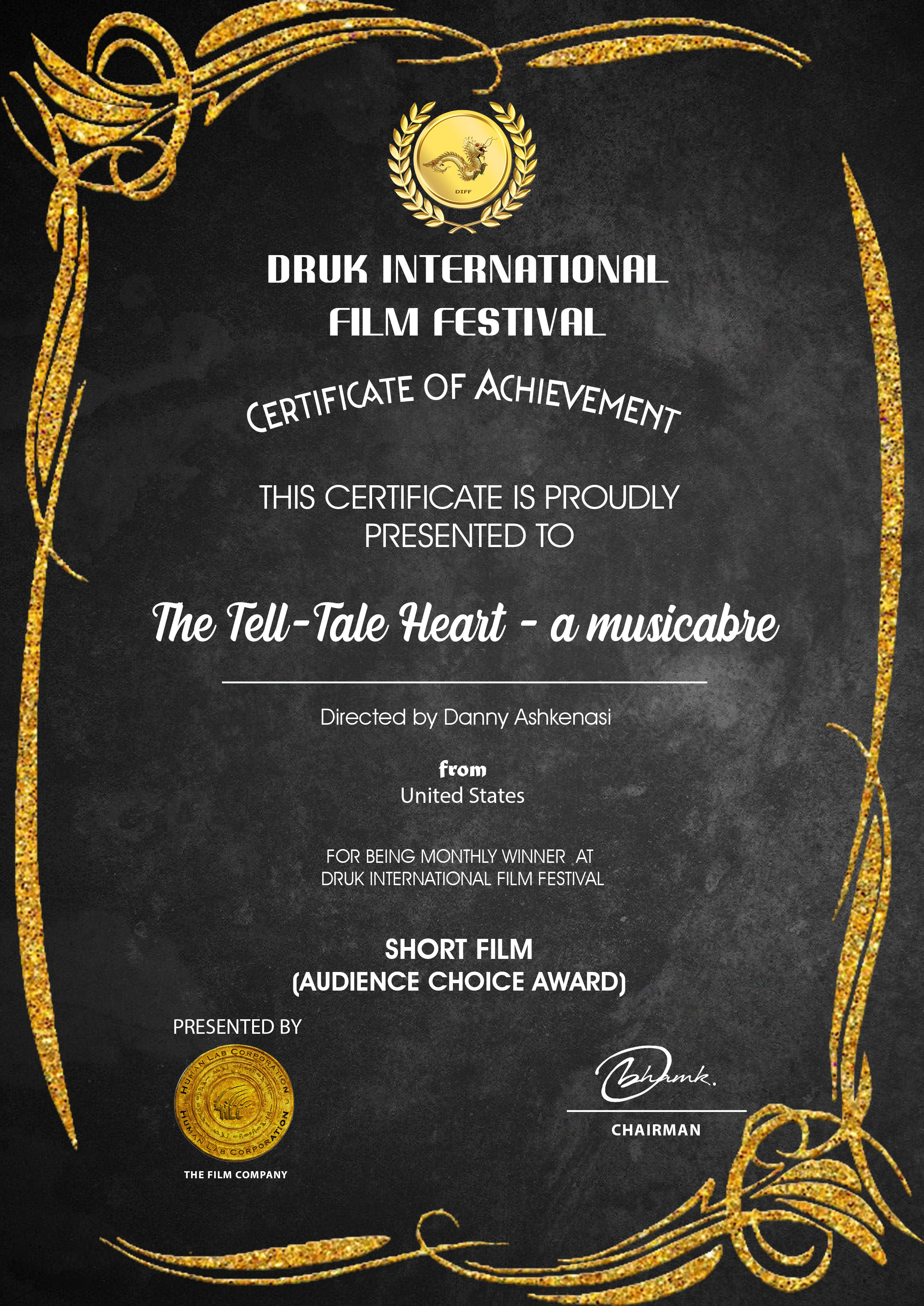Druk Certificate The Tell-Tale Heart - a musicabre