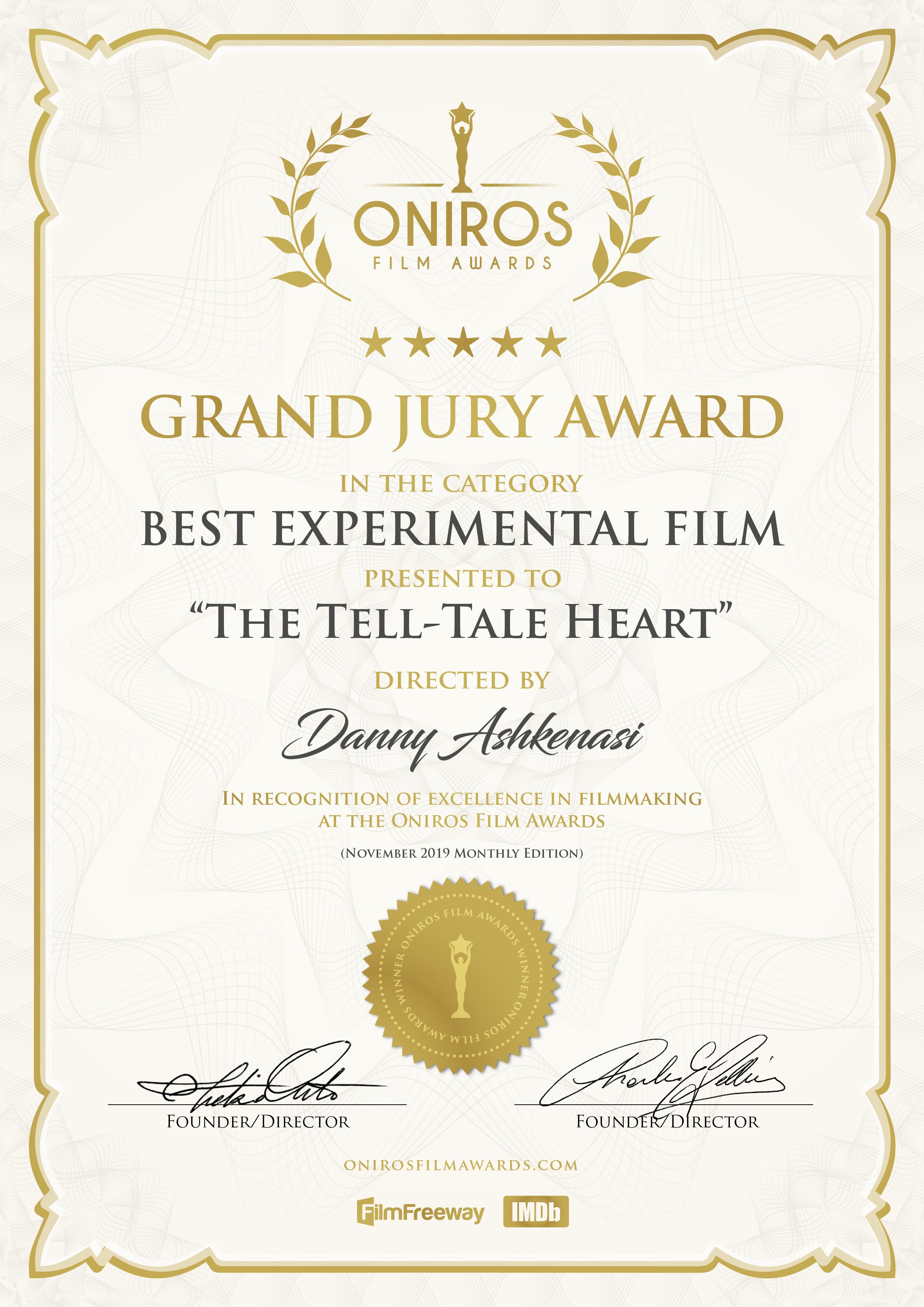 Oniros Grand Jury Award The Tell-Tale Heart